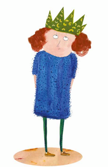 Lena er en jente med rødt hår og blå ullkjole, samt makaronikrone på hodet. Hun er klar over at hun ikke er noen ordentlig prinsesse.