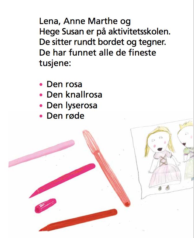 Lena, Anne Marthe og Hege Susan er på aktivitetsskolen. De sitter rundt bordet og tegner. De har funnet alle de fineste tusjene: Den rosa, den knallrosa, den lyserosa, den røde. Bilde av tusjer og tegning av rosa prinsesser.