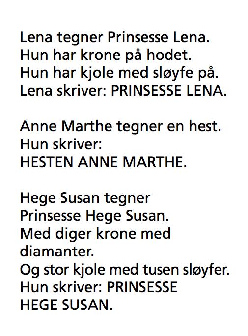Lena tegner Prinsesse Lena. Hun har krone på hodet. HUn har kjole med sløyfe på. Lena skriver: PRINSESSE LENA. ANne MArthe tegner en hest. Hun skriver: HESTEN ANNE MARTHE. HEge Susan tegner Prinsesse Hege Susan. MEd diger krone og diamanter. Og en stor kjole med tusen sløyfer. Hun skriver: PRINSESSE HEGE SUSAN.