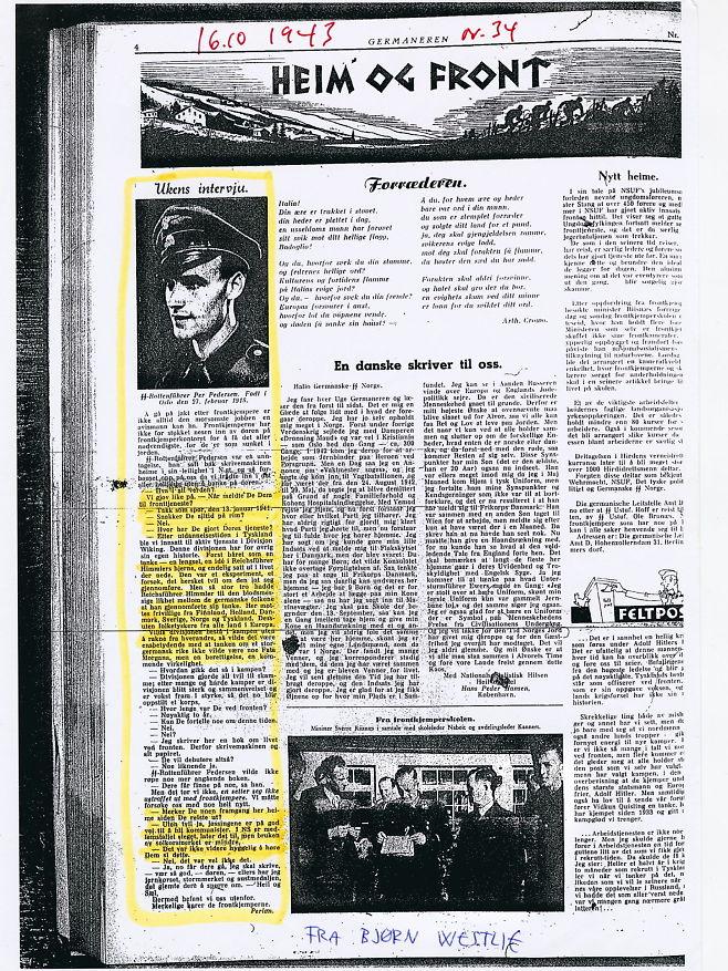 Faksimile fra Per Pedersen TJøstlands tekst i Germaneren